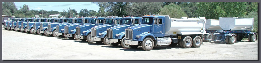 Fleet of Blain Stumpf dump trucks
